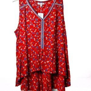 Patrons of peace floral sleeveless top NWT